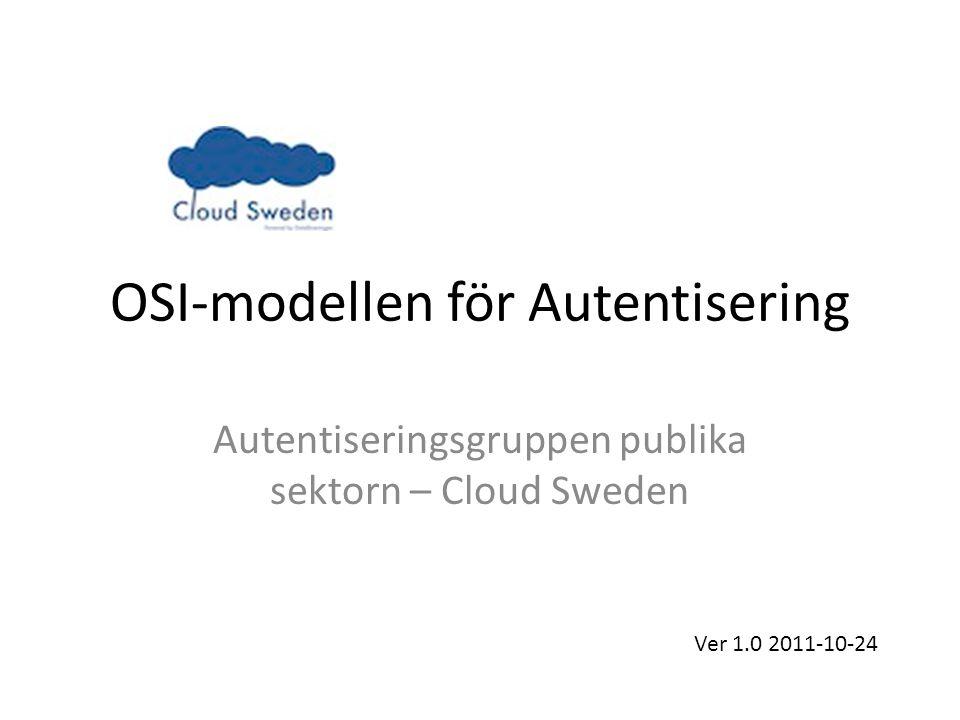 OSI-modellen för Autentisering Autentiseringsgruppen publika sektorn – Cloud Sweden Ver 1.0 2011-10-24