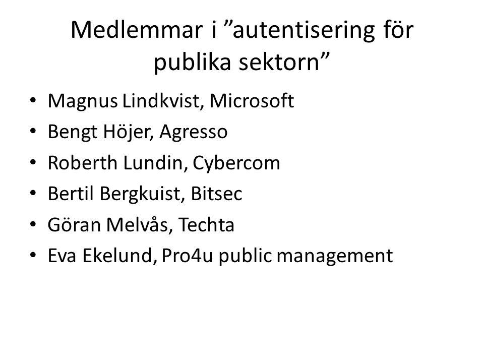Medlemmar i autentisering för publika sektorn Magnus Lindkvist, Microsoft Bengt Höjer, Agresso Roberth Lundin, Cybercom Bertil Bergkuist, Bitsec Göran Melvås, Techta Eva Ekelund, Pro4u public management