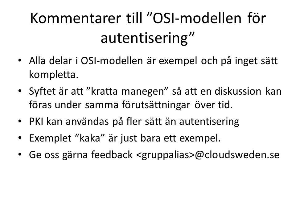 Kommentarer till OSI-modellen för autentisering Alla delar i OSI-modellen är exempel och på inget sätt kompletta.