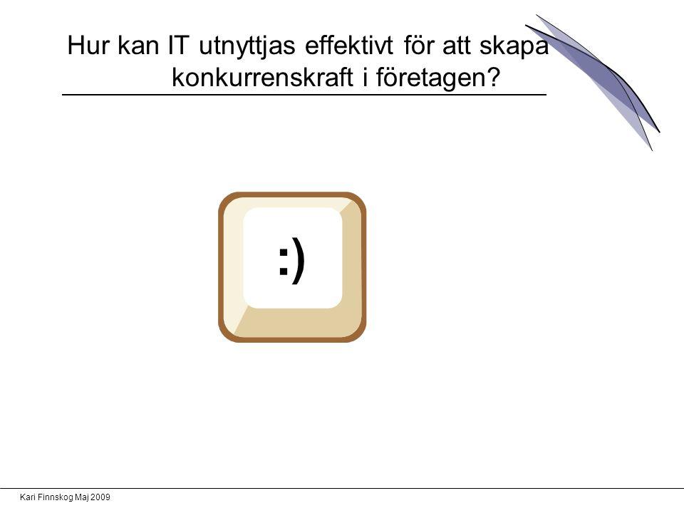 Kari Finnskog Maj 2009 Hur kan IT utnyttjas effektivt för att skapa konkurrenskraft i företagen?