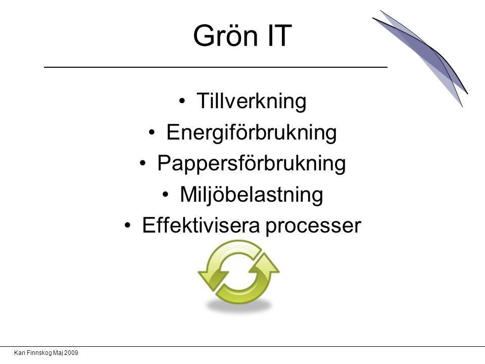 Kari Finnskog Maj 2009 Grön IT Tillverkning Energiförbrukning Pappersförbrukning Miljöbelastning Effektivisera processer