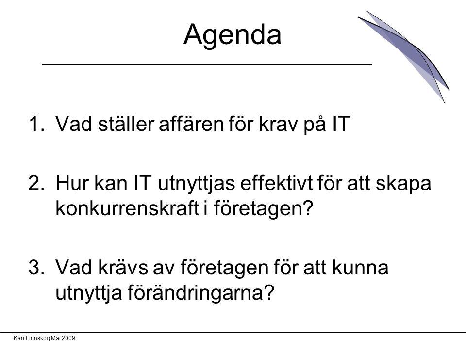 Kari Finnskog Maj 2009 Agenda 1.Vad ställer affären för krav på IT 2.Hur kan IT utnyttjas effektivt för att skapa konkurrenskraft i företagen.