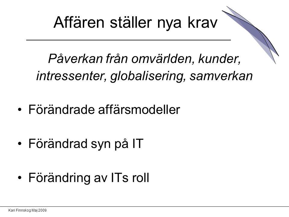 Kari Finnskog Maj 2009 Affären ställer nya krav Påverkan från omvärlden, kunder, intressenter, globalisering, samverkan Förändrade affärsmodeller Förändrad syn på IT Förändring av ITs roll