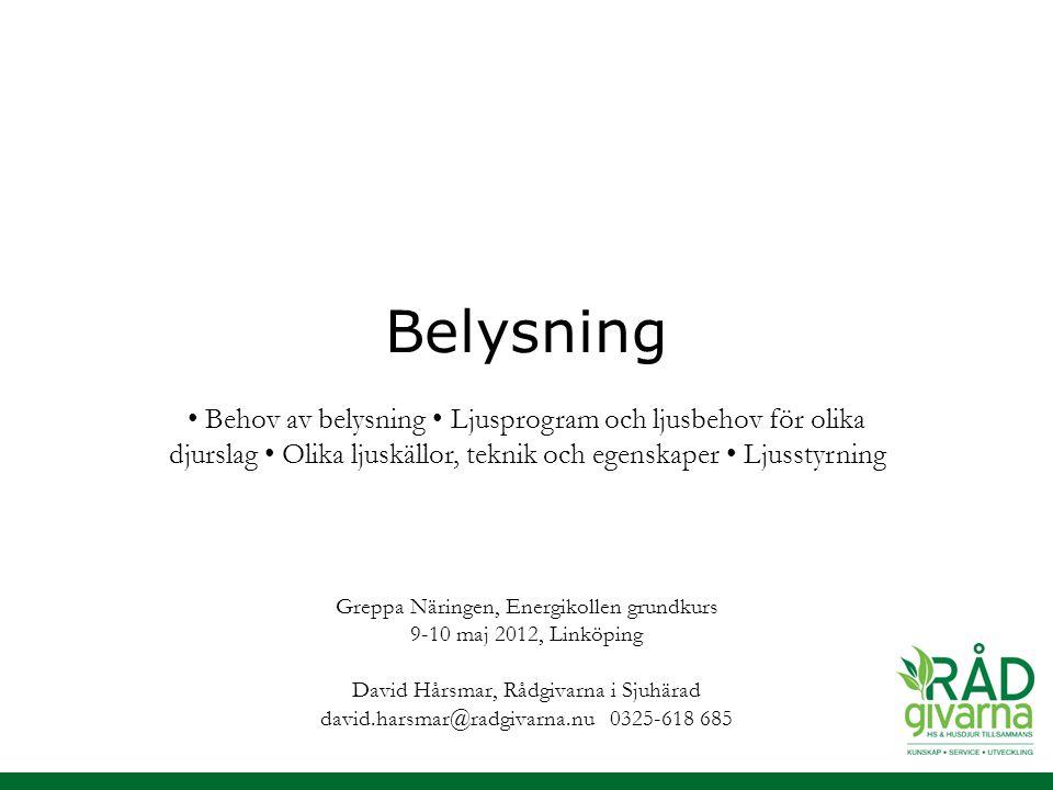 Belysning Greppa Näringen, Energikollen grundkurs 9-10 maj 2012, Linköping David Hårsmar, Rådgivarna i Sjuhärad david.harsmar@radgivarna.nu 0325-618 6