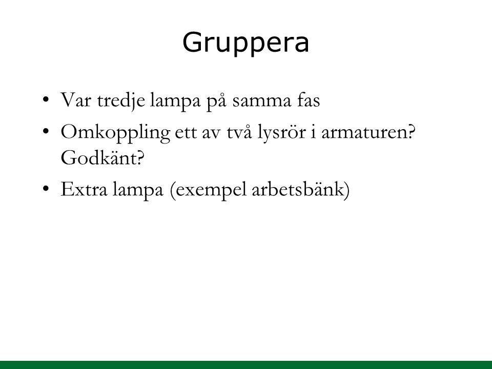 Gruppera Var tredje lampa på samma fas Omkoppling ett av två lysrör i armaturen.