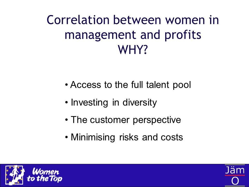 Correlation between women in management and profits WHY? Access to the full talent pool Investing in diversity The customer perspective Minimising ris