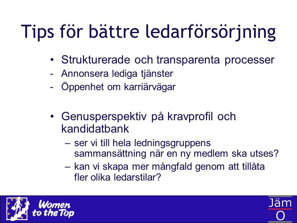 Tips för bättre ledarförsörjning Strukturerade och transparenta processer -Annonsera lediga tjänster -Öppenhet om karriärvägar Genusperspektiv på krav