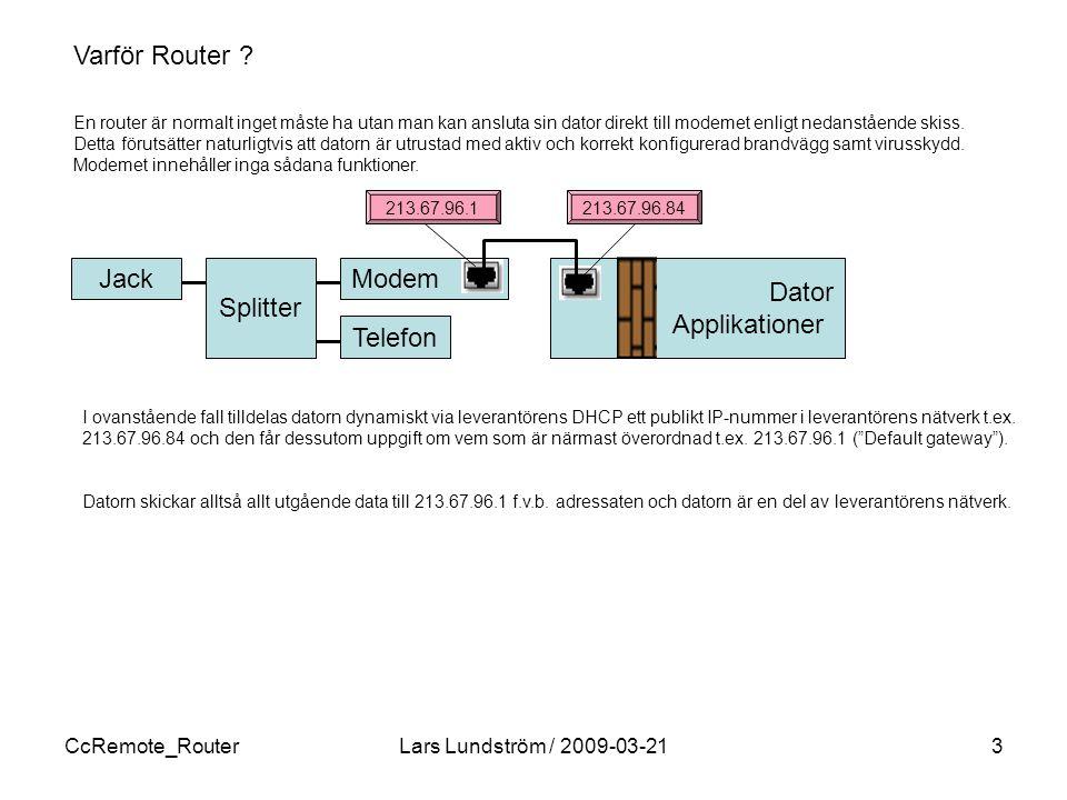 CcRemote_RouterLars Lundström / 2009-03-213 Modem En router är normalt inget måste ha utan man kan ansluta sin dator direkt till modemet enligt nedanstående skiss.