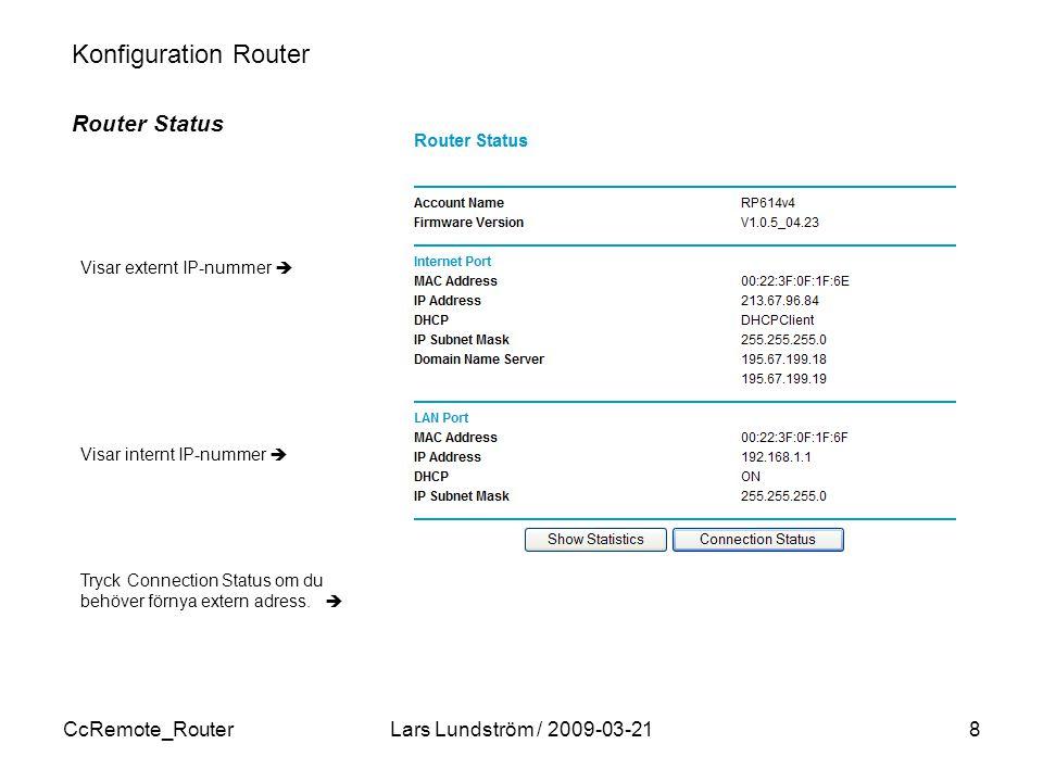 CcRemote_RouterLars Lundström / 2009-03-218 Konfiguration Router Router Status Visar externt IP-nummer  Visar internt IP-nummer  Tryck Connection Status om du behöver förnya extern adress.