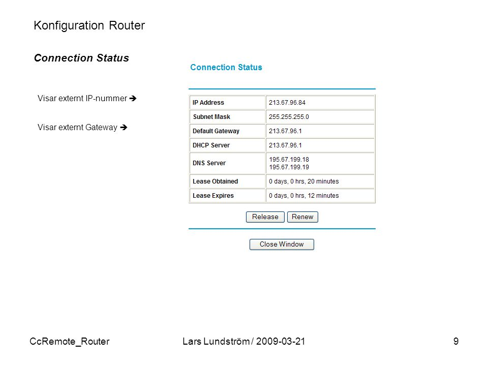 CcRemote_RouterLars Lundström / 2009-03-2110 Konfiguration Router Port forwarding Port forwarding enligt följande 