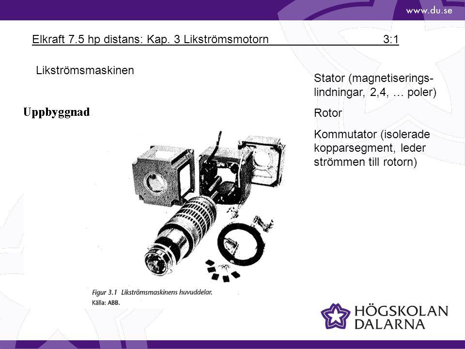 Elkraft 7.5 hp distans: Kap. 3 Likströmsmotorn 3:1 Likströmsmaskinen Stator (magnetiserings- lindningar, 2,4, … poler) Rotor Kommutator (isolerade kop