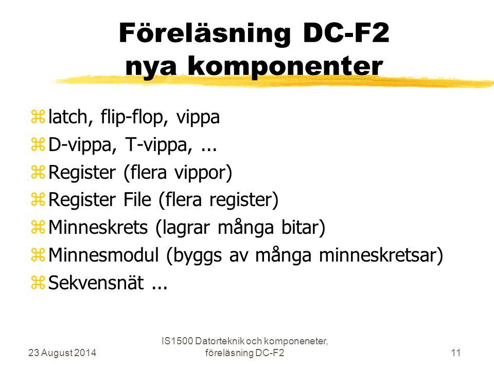 Föreläsning DC-F2 nya komponenter zlatch, flip-flop, vippa zD-vippa, T-vippa,... zRegister (flera vippor) zRegister File (flera register) zMinneskrets
