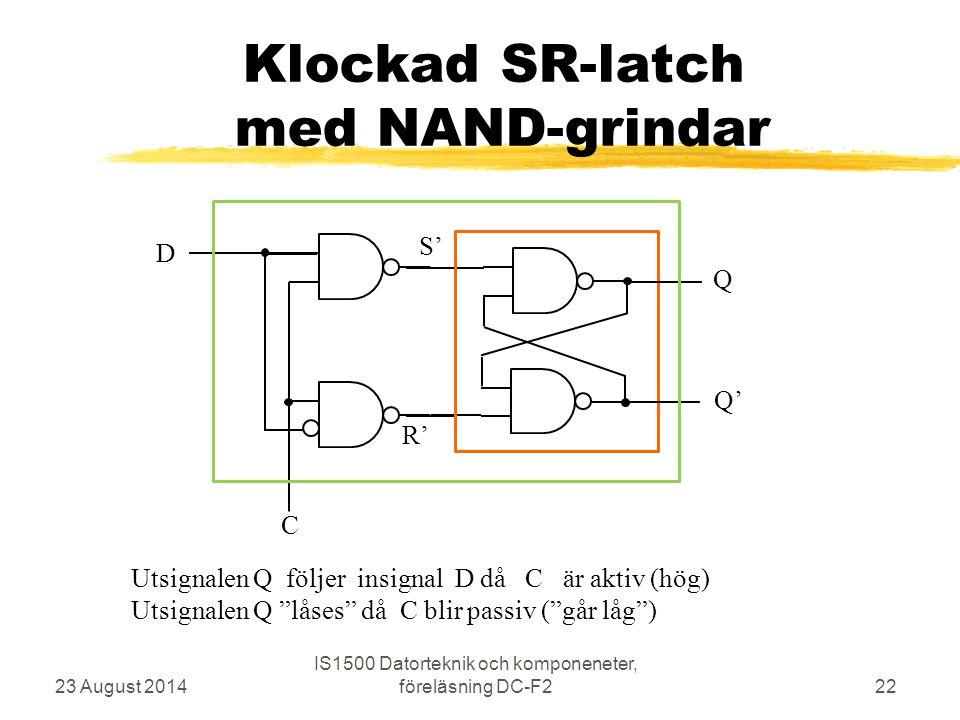 Klockad SR-latch med NAND-grindar 23 August 2014 IS1500 Datorteknik och komponeneter, föreläsning DC-F222 C S' R' Q Q' D Utsignalen Q följer insignal