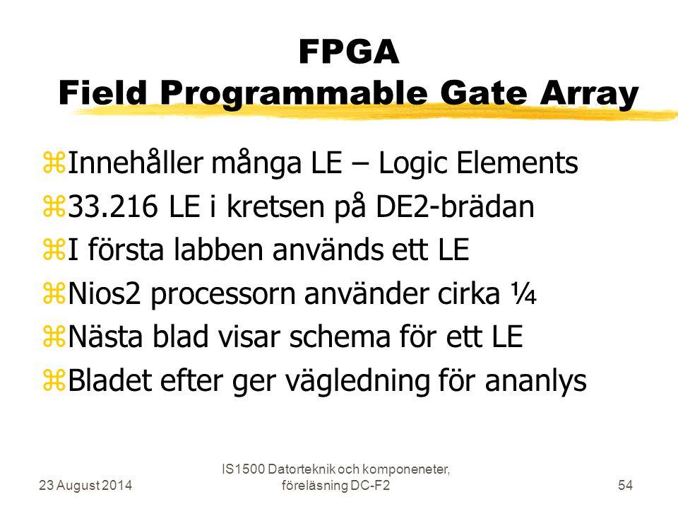 FPGA Field Programmable Gate Array zInnehåller många LE – Logic Elements z33.216 LE i kretsen på DE2-brädan zI första labben används ett LE zNios2 pro