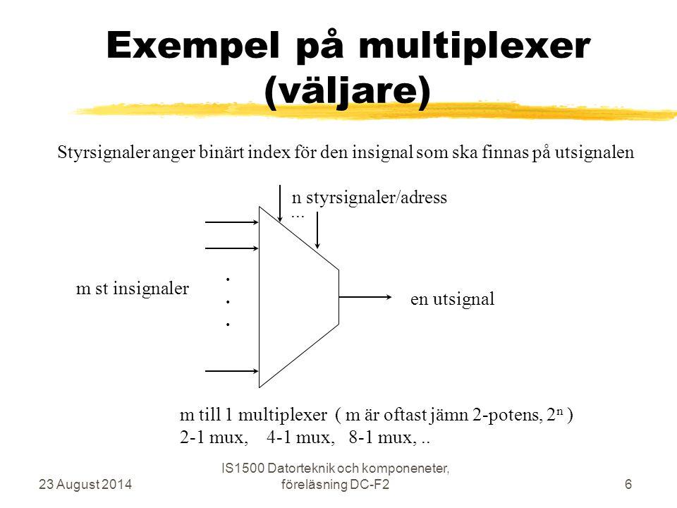 SR-latch med NOR-grindar 23 August 2014 IS1500 Datorteknik och komponeneter, föreläsning DC-F217 R S Q Q' 0 0-1-0 1-0-0 0-1-1 1-0-0 0-1-1 Exempel på stabilt läge Vad händer om man ändrar S från 0 till 1 och tillbaks till 0 Latchen slår om från 0 till 1 (S = Set)
