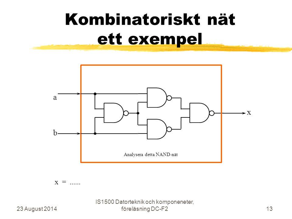 Kombinatoriskt nät ett exempel 23 August 2014 IS1500 Datorteknik och komponeneter, föreläsning DC-F213 b a x Analysera detta NAND-nät x =......