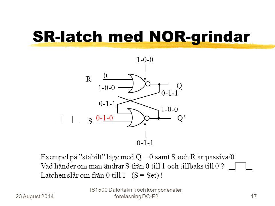 """SR-latch med NOR-grindar 23 August 2014 IS1500 Datorteknik och komponeneter, föreläsning DC-F217 R S Q Q' 0 0-1-0 1-0-0 0-1-1 1-0-0 0-1-1 Exempel på """""""