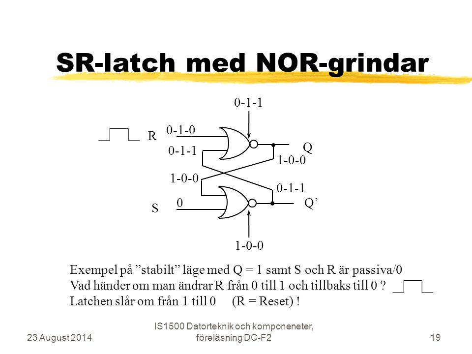"""SR-latch med NOR-grindar 23 August 2014 IS1500 Datorteknik och komponeneter, föreläsning DC-F219 R S Q Q' 0-1-0 0 0-1-1 1-0-0 0-1-1 1-0-0 Exempel på """""""