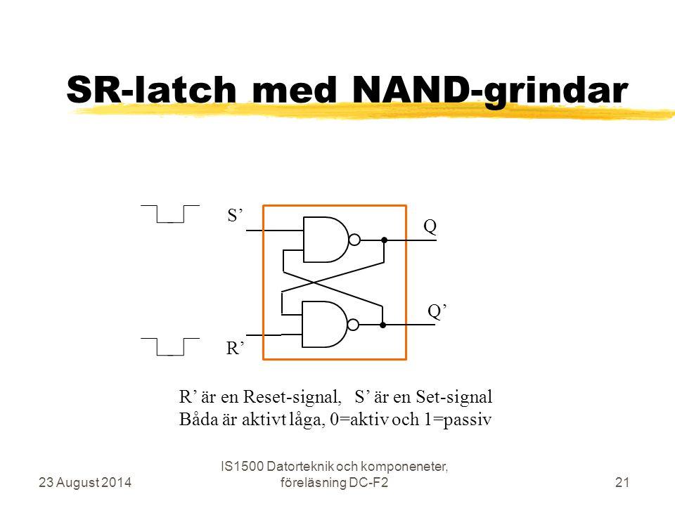 SR-latch med NAND-grindar 23 August 2014 IS1500 Datorteknik och komponeneter, föreläsning DC-F221 S' R' Q Q' R' är en Reset-signal, S' är en Set-signa
