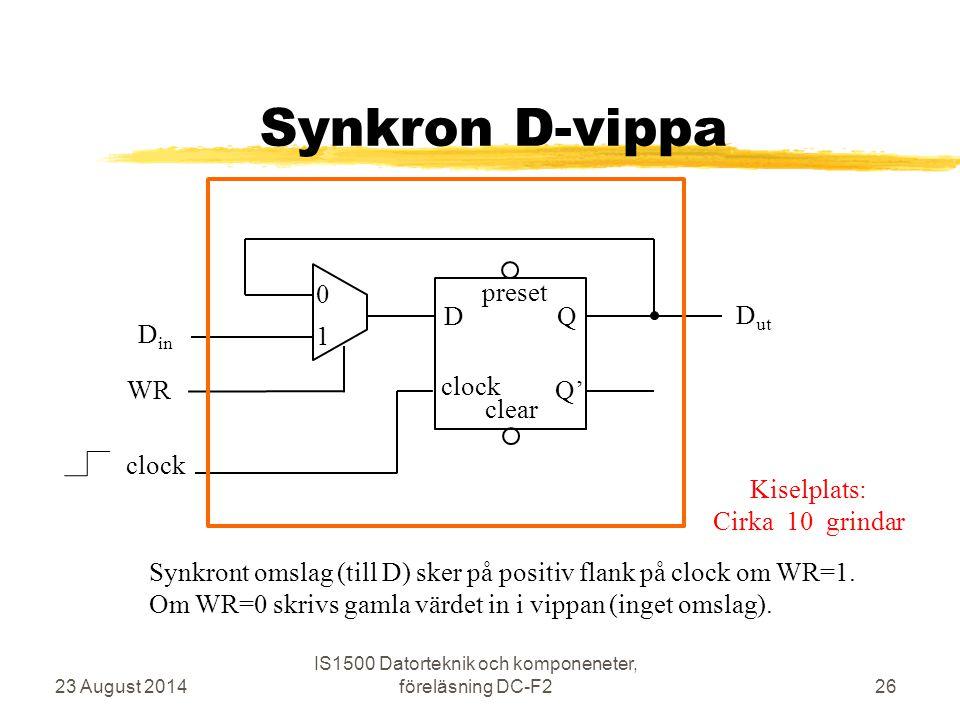 Synkron D-vippa 23 August 2014 IS1500 Datorteknik och komponeneter, föreläsning DC-F226 clock D preset Q Q' clear WR D in clock 0 1 D ut Synkront omsl