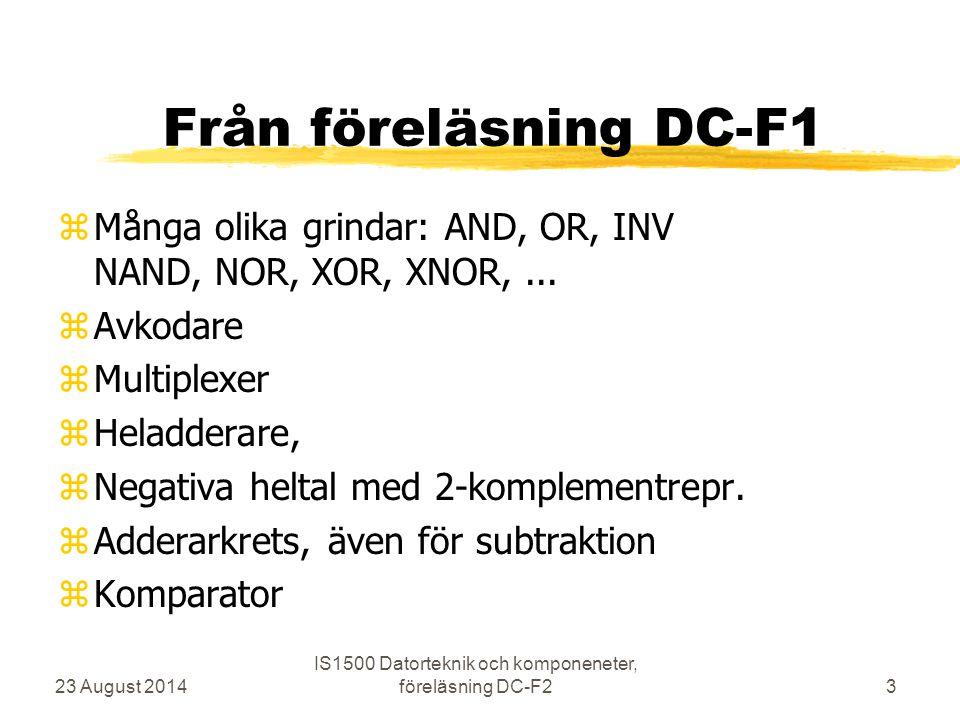 Från föreläsning DC-F1 zMånga olika grindar: AND, OR, INV NAND, NOR, XOR, XNOR,... zAvkodare zMultiplexer zHeladderare, zNegativa heltal med 2-komplem