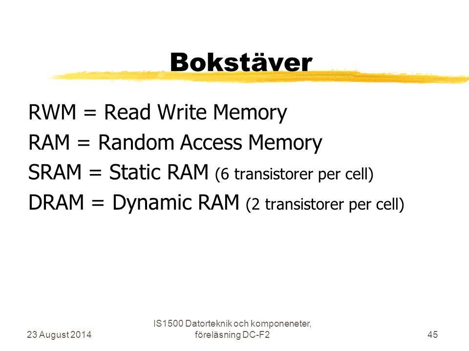 Bokstäver RWM = Read Write Memory RAM = Random Access Memory SRAM = Static RAM (6 transistorer per cell) DRAM = Dynamic RAM (2 transistorer per cell)