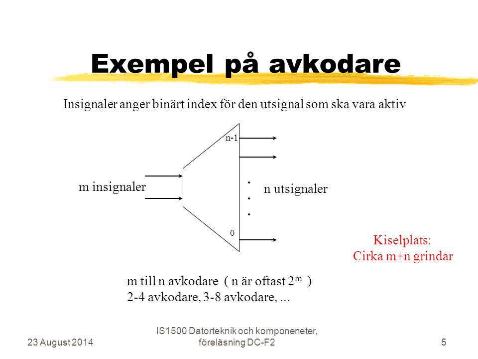 Exempel på avkodare 23 August 2014 IS1500 Datorteknik och komponeneter, föreläsning DC-F25 m insignaler n utsignaler m till n avkodare ( n är oftast 2