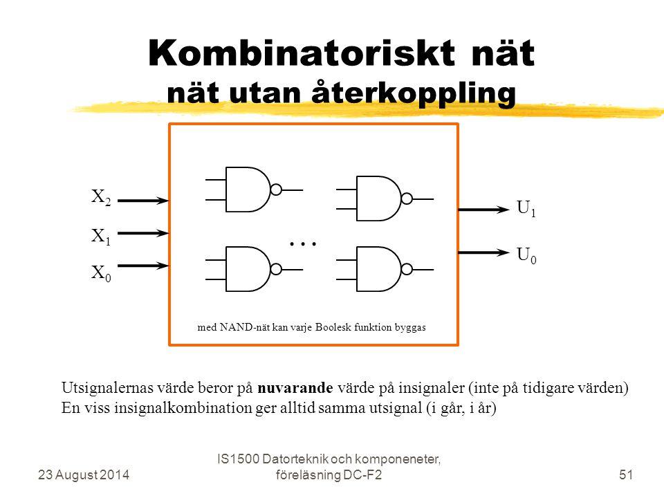 Kombinatoriskt nät nät utan återkoppling 23 August 2014 IS1500 Datorteknik och komponeneter, föreläsning DC-F251 X0X0 X1X1 X2X2 U1U1 U0U0... med NAND-