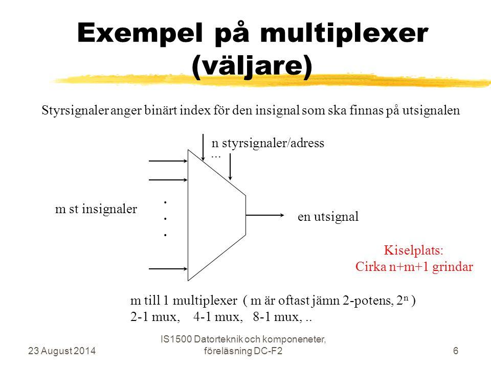 SR-latch med NOR-grindar 23 August 2014 IS1500 Datorteknik och komponeneter, föreläsning DC-F217 R S Q Q' 0 0-1-0 1-0-0 0-1-1 1-0-0 0-1-1 Exempel på stabilt läge med Q = 0 samt S och R är passiva/0 Vad händer om man ändrar S från 0 till 1 och tillbaks till 0 .