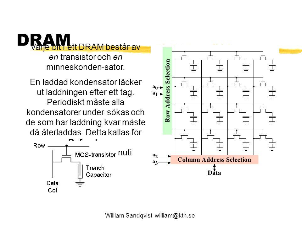 William Sandqvist william@kth.se DRAM Varje bit i ett DRAM består av en transistor och en minneskonden-sator. En laddad kondensator läcker ut laddning