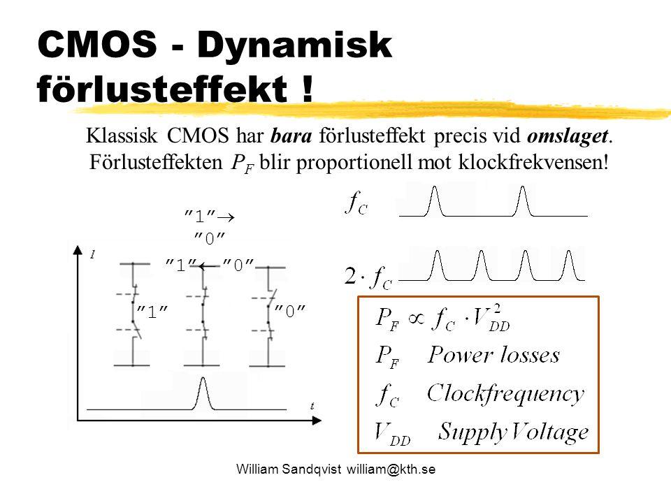 CMOS - Dynamisk förlusteffekt ! William Sandqvist william@kth.se Klassisk CMOS har bara förlusteffekt precis vid omslaget. Förlusteffekten P F blir pr