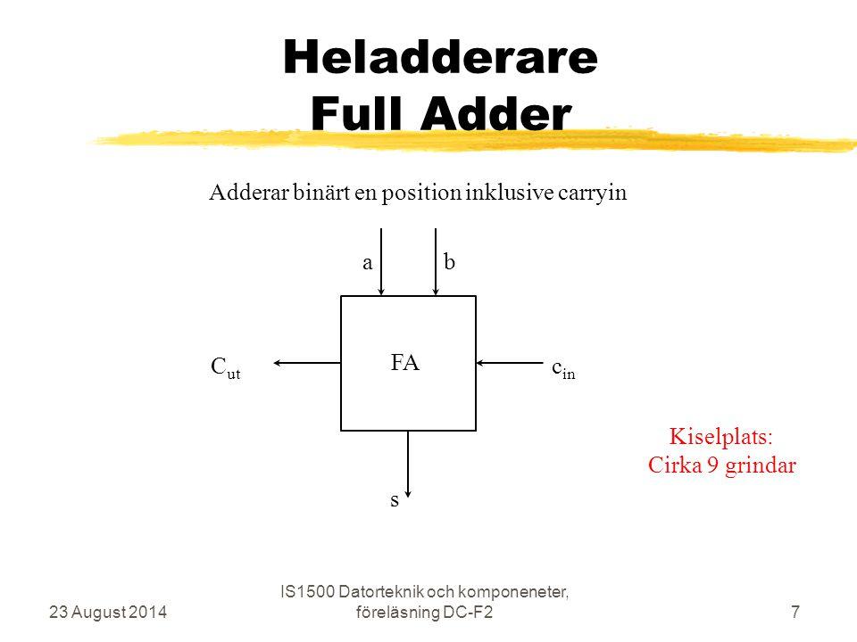 FPGA Field Programmable Gate Array zInnehåller många LE – Logic Elements z33.216 LE i kretsen på DE2-brädan zI första labben används ett LE zNios2 processorn använder cirka ¼ zNästa blad visar schema för ett LE zSidan efter ger vägledning för analys 23 August 2014 IS1500 Datorteknik och komponeneter, föreläsning DC-F258