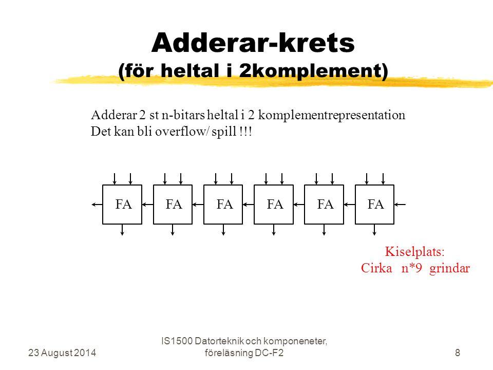 Adderar-krets subtraktion 23 August 2014 IS1500 Datorteknik och komponeneter, föreläsning DC-F29 FA SUB/ADD Subtraktion utförs som addition av 2-komplement A – B = A + ( -B ) Kiselplats: Cirka n*13 grindar (om XOR tar 4)