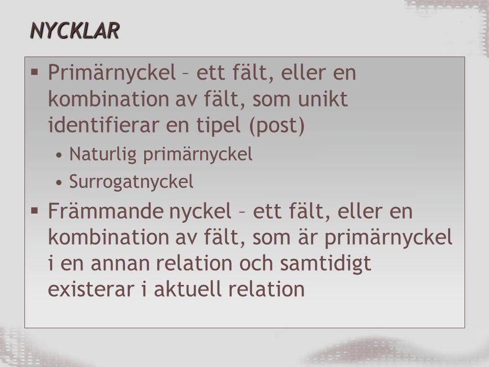 NYCKLAR  Primärnyckel – ett fält, eller en kombination av fält, som unikt identifierar en tipel (post) Naturlig primärnyckel Surrogatnyckel  Främmande nyckel – ett fält, eller en kombination av fält, som är primärnyckel i en annan relation och samtidigt existerar i aktuell relation