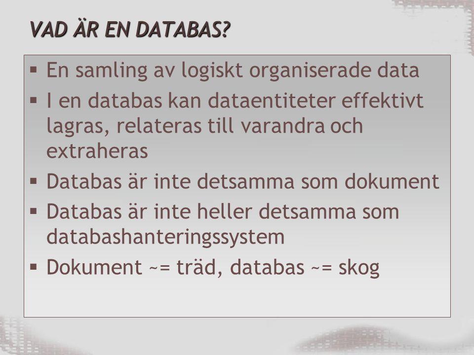 DATABASHANTERINGSSYSTEM  DBMS, DataBase Management System  Ett programvarusystem som möjliggör för användare att definiera, skapa, underhålla och kontrollera tillgång till en databas  Access, SQL Server, Oracle, MySQL, FileMaker