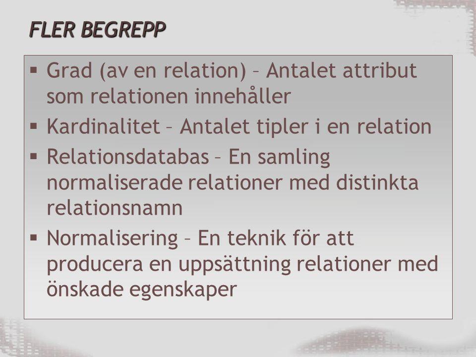 FLER BEGREPP  Grad (av en relation) – Antalet attribut som relationen innehåller  Kardinalitet – Antalet tipler i en relation  Relationsdatabas – En samling normaliserade relationer med distinkta relationsnamn  Normalisering – En teknik för att producera en uppsättning relationer med önskade egenskaper