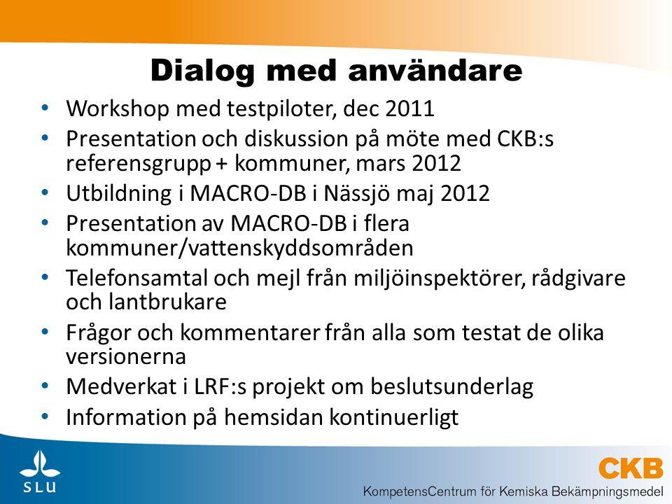 Dialog med användare Workshop med testpiloter, dec 2011 Presentation och diskussion på möte med CKB:s referensgrupp + kommuner, mars 2012 Utbildning i