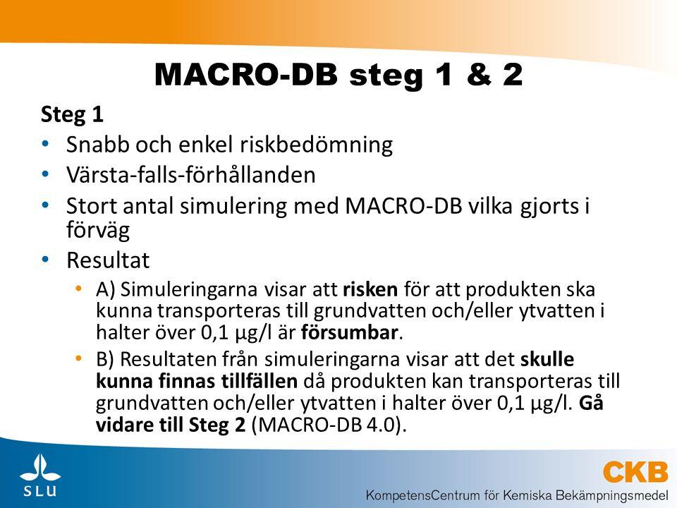 MACRO-DB steg 1 & 2 Steg 1 Snabb och enkel riskbedömning Värsta-falls-förhållanden Stort antal simulering med MACRO-DB vilka gjorts i förväg Resultat