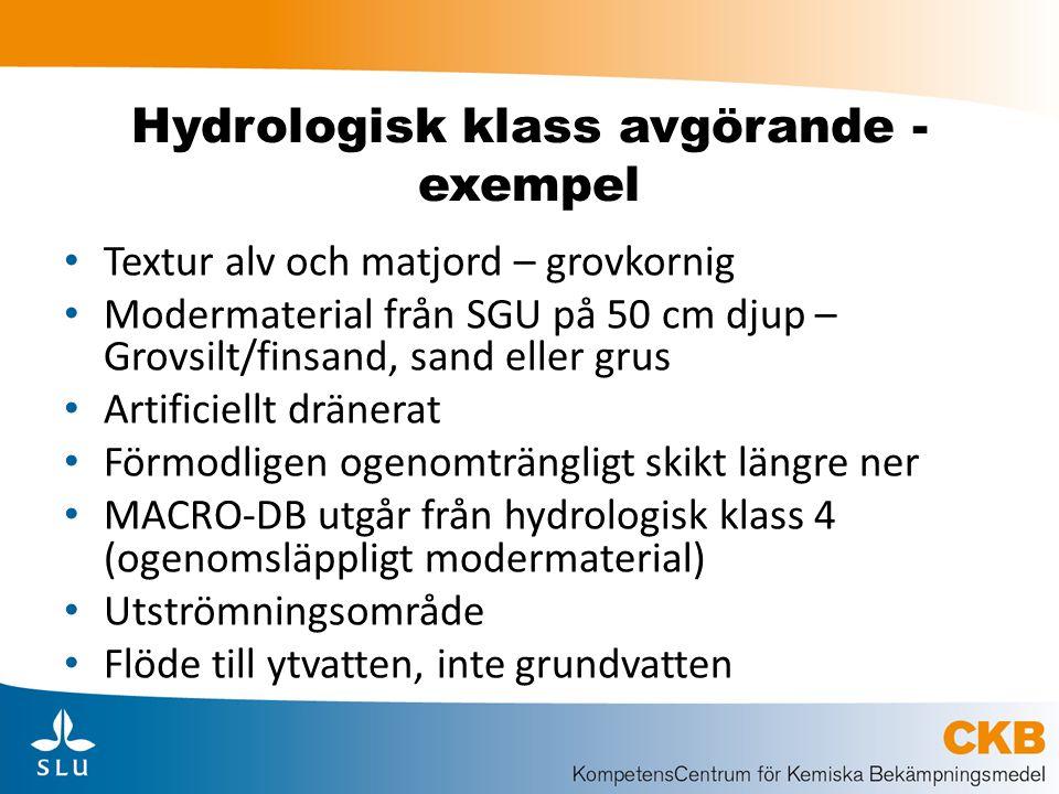 Hydrologisk klass avgörande - exempel Textur alv och matjord – grovkornig Modermaterial från SGU på 50 cm djup – Grovsilt/finsand, sand eller grus Art
