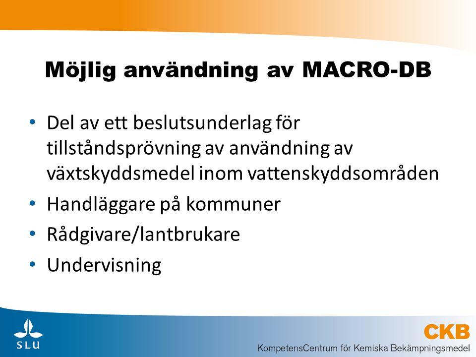 Möjlig användning av MACRO-DB Del av ett beslutsunderlag för tillståndsprövning av användning av växtskyddsmedel inom vattenskyddsområden Handläggare