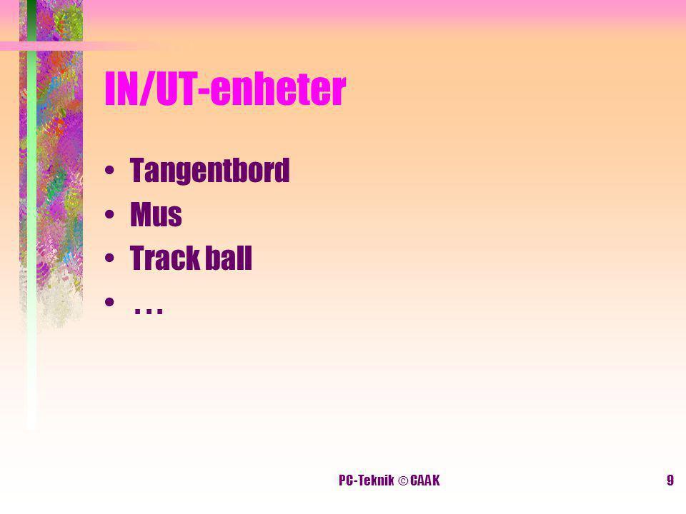 PC-Teknik © CAAK9 IN/UT-enheter Tangentbord Mus Track ball...