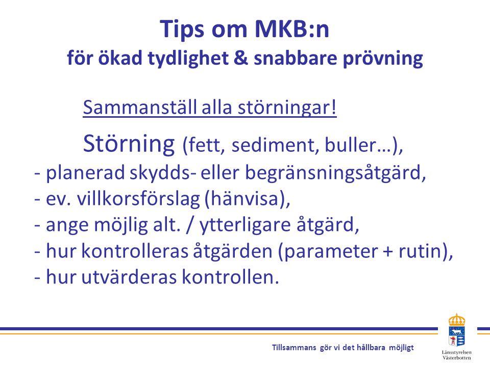 Tillsammans gör vi det hållbara möjligt Tips om MKB:n för ökad tydlighet & snabbare prövning Sammanställ alla störningar! Störning (fett, sediment, bu