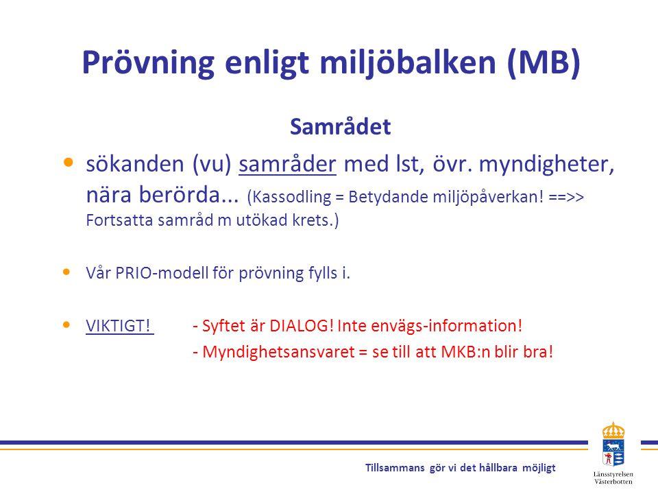 Tillsammans gör vi det hållbara möjligt Prövning enligt miljöbalken (MB) Samrådet sökanden (vu) samråder med lst, övr. myndigheter, nära berörda... (K