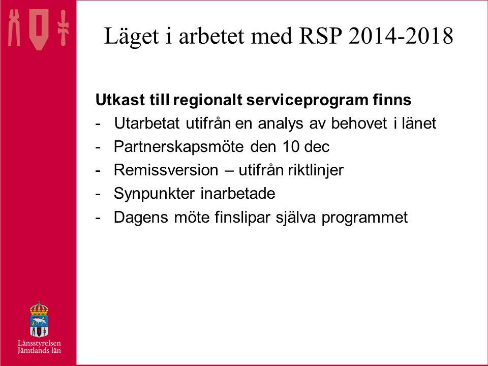 Läget i arbetet med RSP 2014-2018 Utkast till regionalt serviceprogram finns - Utarbetat utifrån en analys av behovet i länet -Partnerskapsmöte den 10 dec -Remissversion – utifrån riktlinjer -Synpunkter inarbetade -Dagens möte finslipar själva programmet