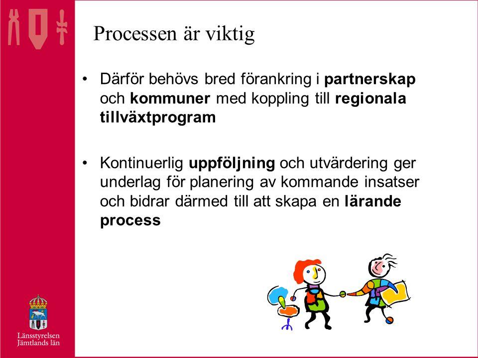 Processen är viktig Därför behövs bred förankring i partnerskap och kommuner med koppling till regionala tillväxtprogram Kontinuerlig uppföljning och utvärdering ger underlag för planering av kommande insatser och bidrar därmed till att skapa en lärande process