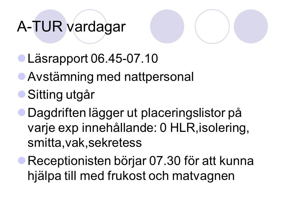 A-TUR vardagar Läsrapport 06.45-07.10 Avstämning med nattpersonal Sitting utgår Dagdriften lägger ut placeringslistor på varje exp innehållande: 0 HLR,isolering, smitta,vak,sekretess Receptionisten börjar 07.30 för att kunna hjälpa till med frukost och matvagnen