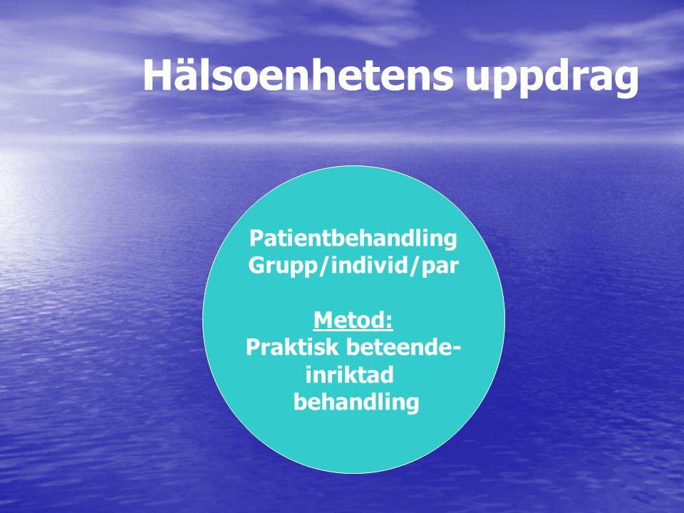 Hälsoenhetens uppdrag Patientbehandling Grupp/individ/par Metod: Praktisk beteende- inriktad behandling
