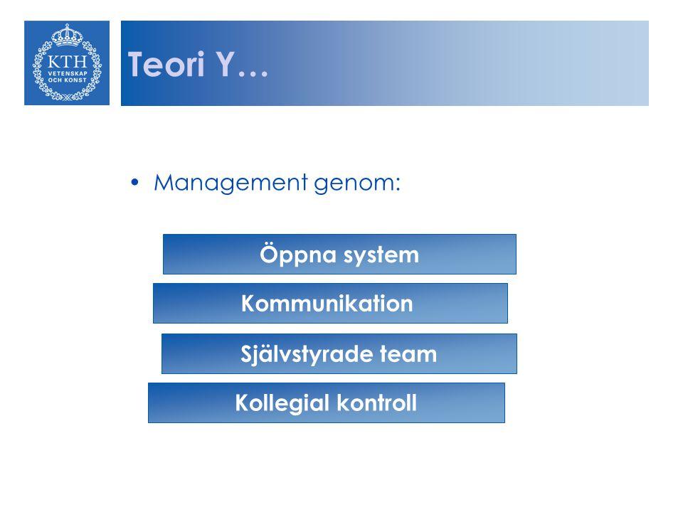 Teori Y… Management genom: Öppna system Kommunikation Självstyrade team Kollegial kontroll