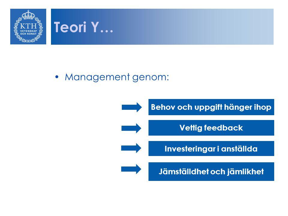 Teori Y… Management genom: Behov och uppgift hänger ihop Vettig feedback Investeringar i anställda Jämställdhet och jämlikhet