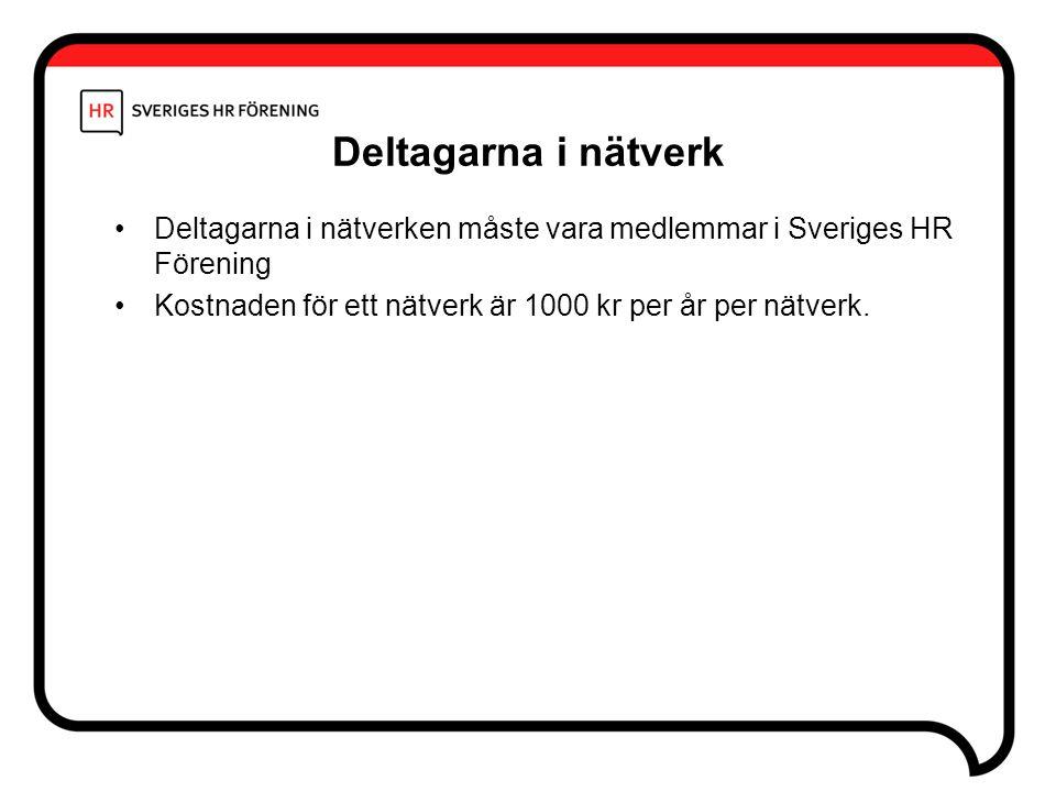 Deltagarna i nätverk Deltagarna i nätverken måste vara medlemmar i Sveriges HR Förening Kostnaden för ett nätverk är 1000 kr per år per nätverk.